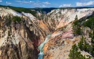 Beautiful and colorful canyon of Inspiration Point in Yellowstone National Park, Wyoming.