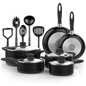 #10.Vremi 15 Piece Nonstick Cookware Set