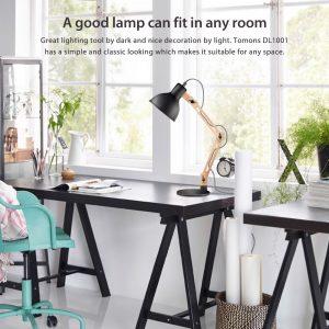 1. Tomons Scandinavian Swing Arm Wood Desk Table Lamp