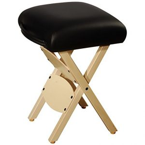 2) Mt Massage Tables Wooden Folding Massage Stool, Black