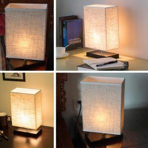 7. Zeefo Wood Table Lamp, Retro Solid