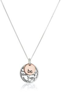 """7. Two-Tone Sterling Silver """"Be"""" Charm Necklace"""
