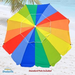 10. 8ft Premium Heavy Duty Fiberglass Beach Umbrella (Rainbow UPF 100