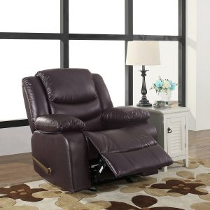 Bonded Leather Recliner Chair Living Room Rocker