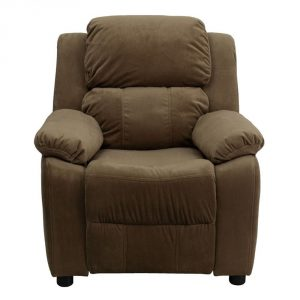 Deluxe Heavily-Padded Brown Contemporary Microfiber Recliner with the Storage Arms