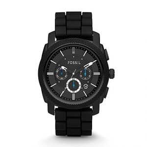 Fossil Men's FS4487 Black Stainless Steel Watch with Silicone Band