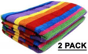 Jacquard Double Woven, 2 Pack, Velour Beach Towel