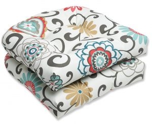 Pillow Perfect Outdoor Seat Cushion, Pom Pom Play Peachtini