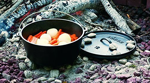 . Lodge 8 Quart Dutch Oven Camp. 12 Inch Cast Iron Pot(Pre Seasoned) and Lid with Camp Cooking Handle