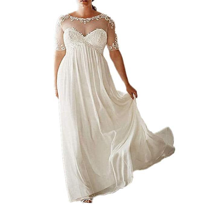 DreHouse Women's Vintage Beach Wedding Dresses with Half Sleeves