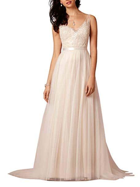 Ikeren wedding Women's V-neck A-line Long Beach Wedding Dress
