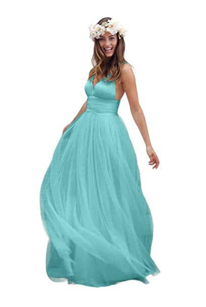 Irenwedding Spaghetti Ruched Empire Open Back Beach Wedding Dress