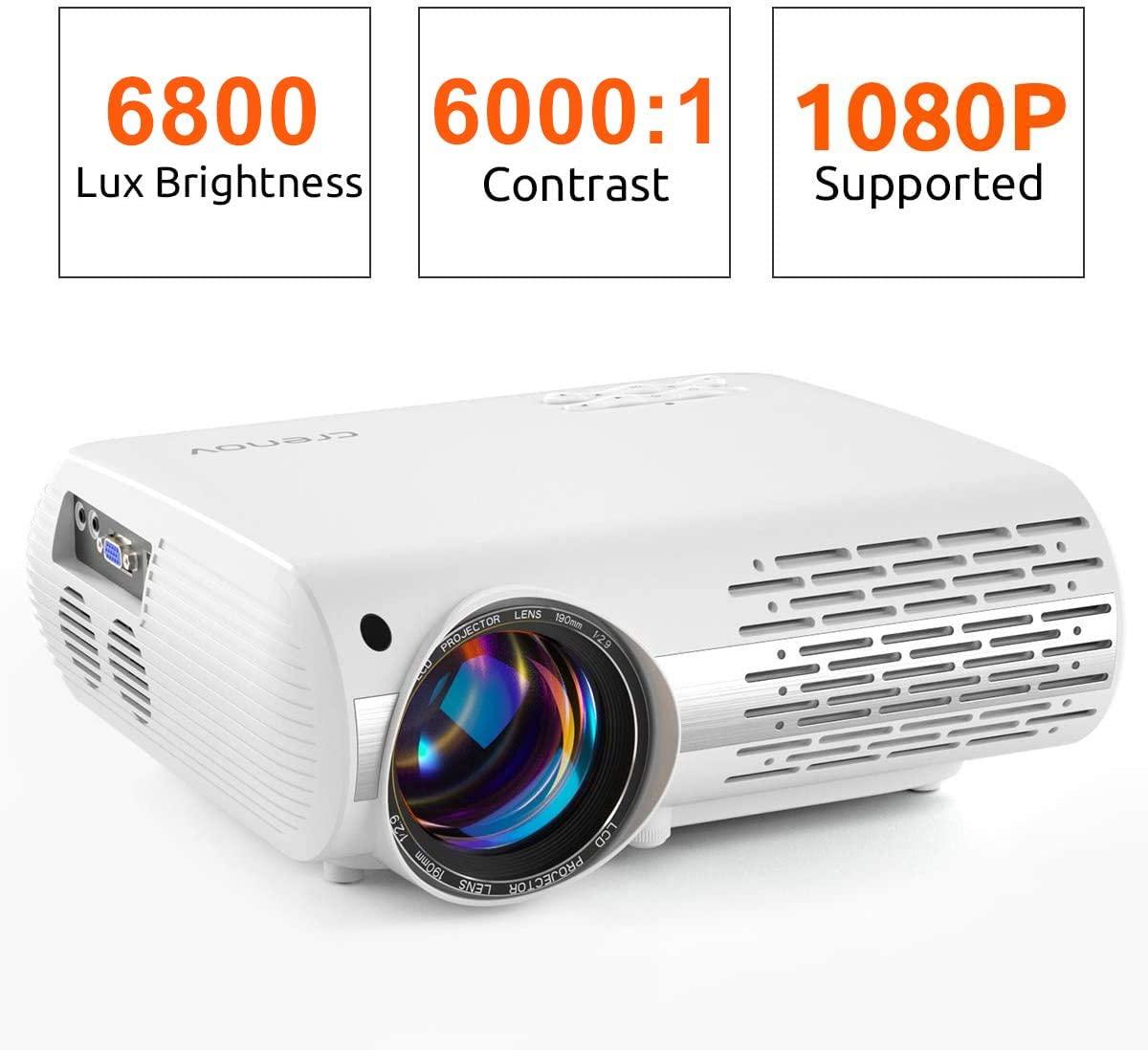 Crenova Video Projector, 6800 Lux Home Movie Projector