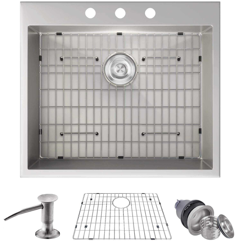 """MOWA HTS2522 25"""" x 22"""" Stainless Steel Kitchen Sink"""