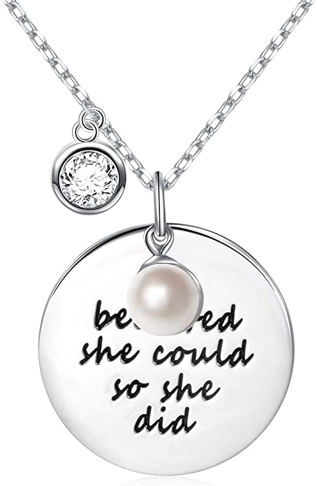 Sterling Silver Encouragement Love WordsNecklace Gift for Women