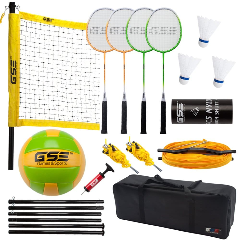 GSE Games & Sports Expert Professional Portable Badminton Volleyball Combo Set