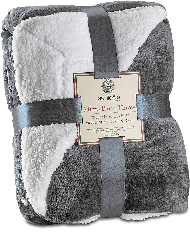 Genteele Sherpa Throw Super Soft Reversible Ultra Luxurious Plush Blanket