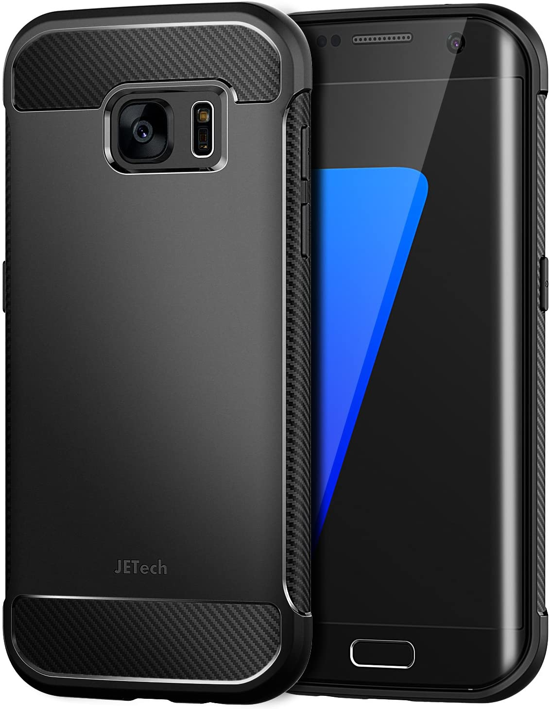 JETech Samsung Galaxy S7 Edge Protective Cover with Shock-Absorption and Carbon Fiber Design (Black)