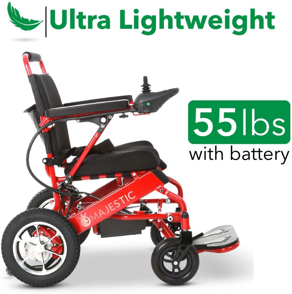 """2021 New Folding Ultra Lightweight Electric Power Wheelchair, Airline Approved and Air Travel Allowed, Portable Power (17.5"""" Seat Width)"""