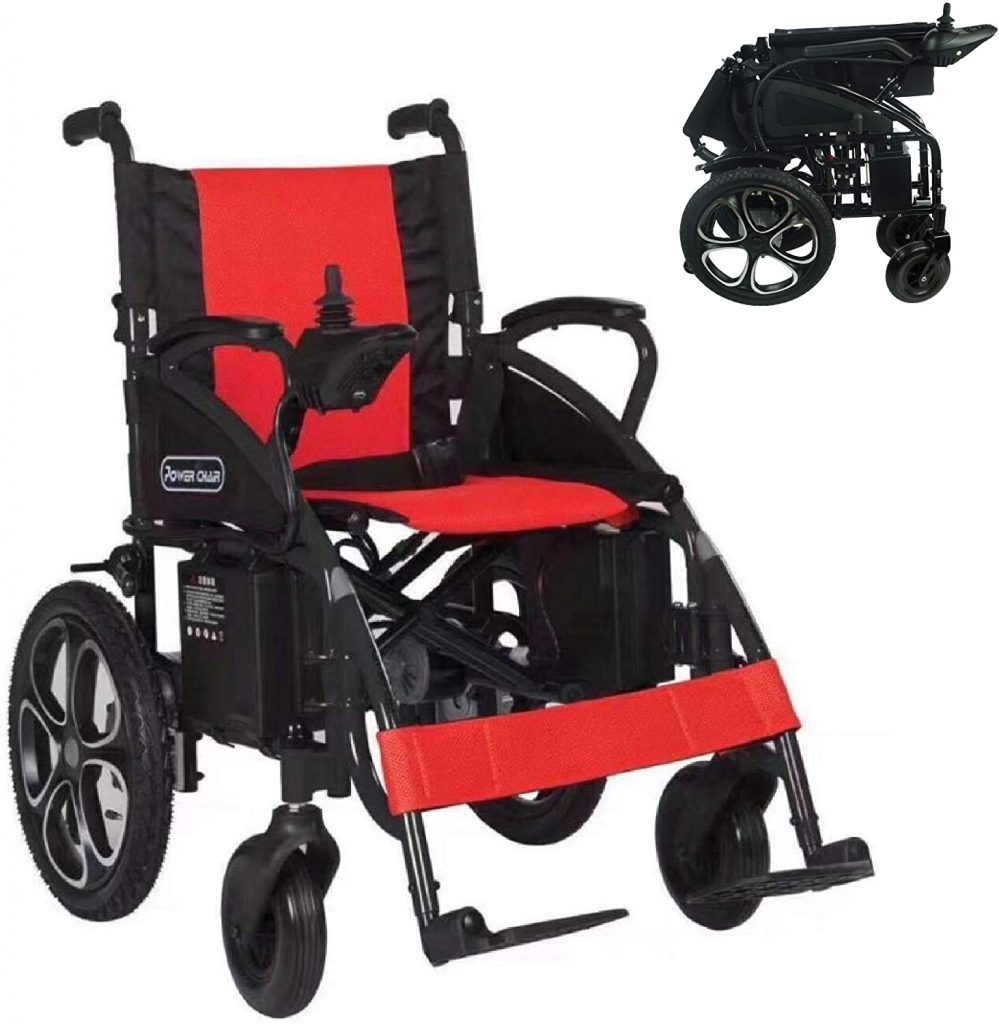 2021 Updated Electric Wheelchairs Airline Approved Transport Friendly Lightweight Folding Electric Wheelchair for Adults by Comfy Go (Red)