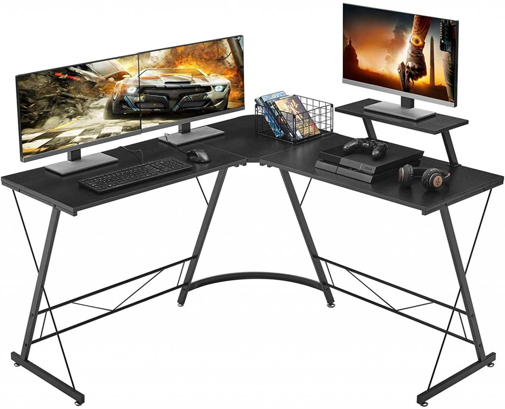 """Mr. IRONSTONE L-Shaped Desk 50.8"""" Computer Corner Desk, Office Writing Workstation with Large Monitor Stand, Space-Saving, Easy to Assemble, Black"""