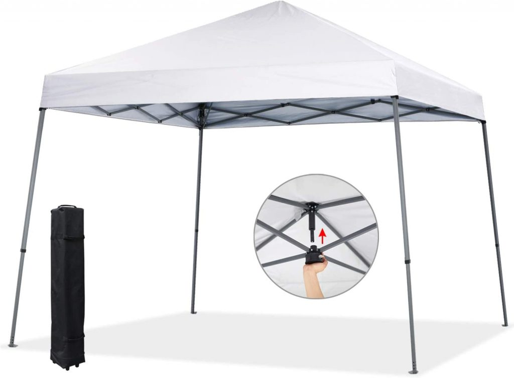 COOSHADE 8x8ft Slant Leg Pop Up Canopy Tent,Easy One Person Setup Instant Sun Protection Beach Shelter,Portable Sports Cool Cabana(White)