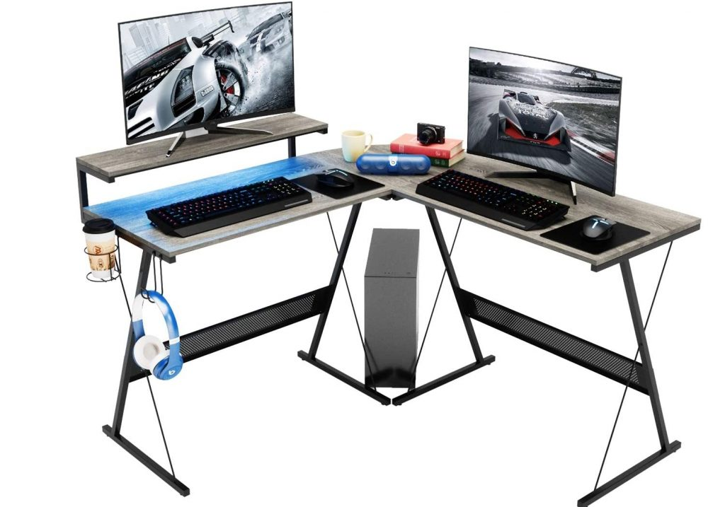 Domy Home L Shaped Computer Desk with Corner Large Monitor Table Modern Gaming Desk RGB LED Lights Home Office Desk Win Space-Saving, Easy to Assemble Grey Oak