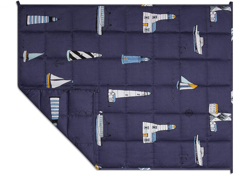 Luna Kids Weighted Blanket - 5 lbs - 36x48 - Child Size Bed   Tex Certified Cooling Cotton & Glass Beads   USA Designed   Heavy Cool Weight   Blue Boat Print