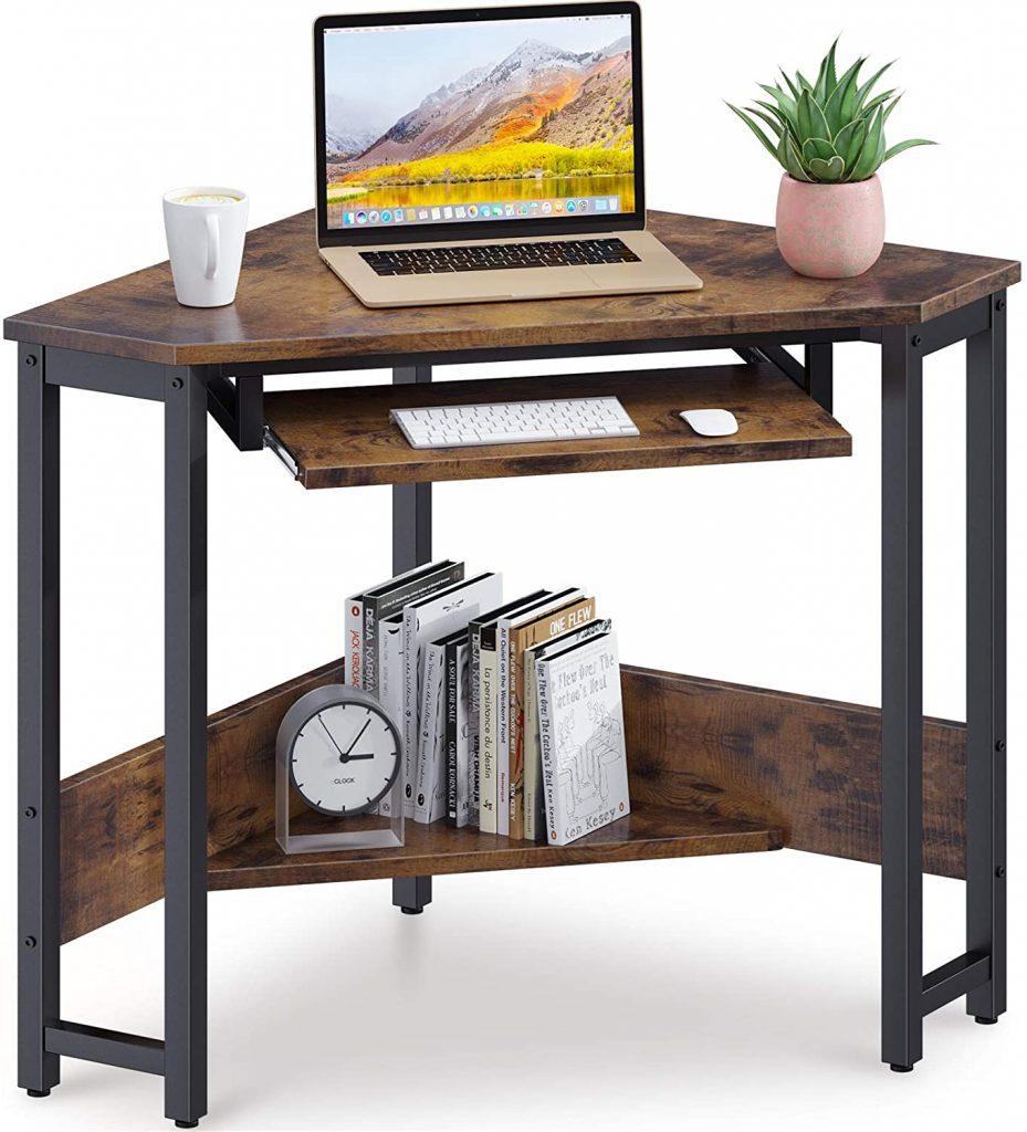 ODK Corner Desk Sturdy Steel Frame for Workstation with Smooth Keyboard Tray & Storage Shelves, Vintage