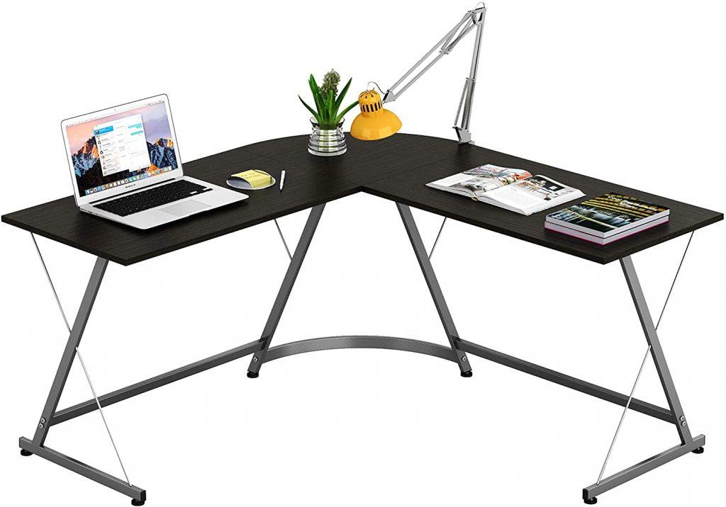 SHW L-Shape Corner Desk Computer Gaming Desk Table, Espresso