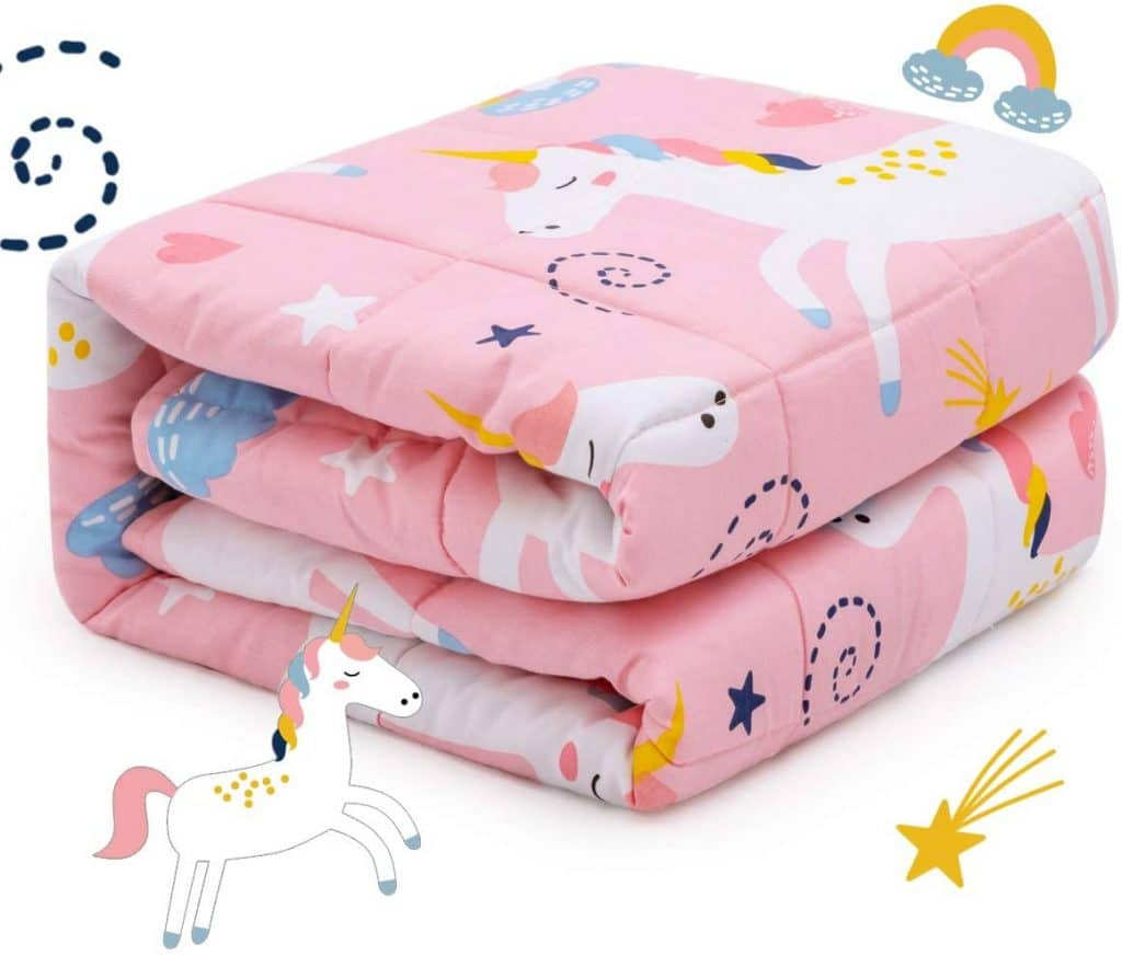 Sivio Kids Weighted Blanket, 3lbs, 36 x 48 inches, Heavy Blanket for Kids and Teens, Pink Unicorn
