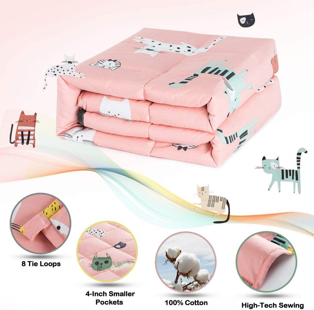Sivio Weighted Blanket for Kids (100% Breathable Natural Cotton, 5 lbs Heavy Blanket), Pink Ca