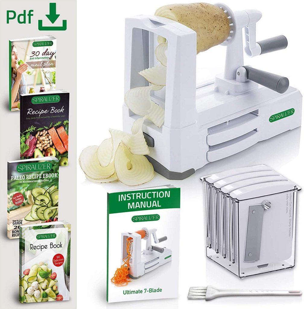 Spiralizer 7-Blade Vegetable Slicer, Strongest-and-Heaviest Spiral Slicer, Best Veggie Pasta Spaghetti Maker Comes with 4 Recipe Ebooks