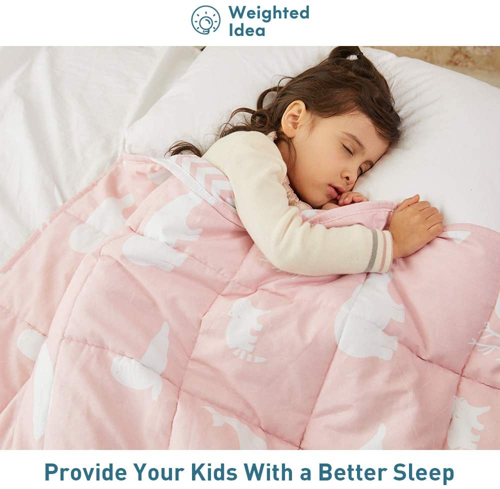 """Weighted Idea Kids Weighted Blanket 7 lbs 41"""" x 60"""" for Kids (100% Natural Cotton, Pink Animal)"""