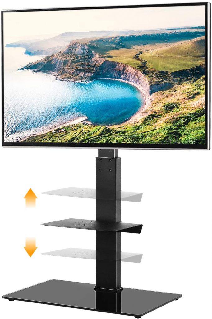 5Rcom Black TV Floor Stand with 2 Shelves