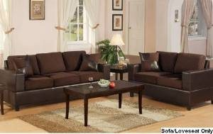 1. Bobkona Seattle Microfiber Sofa and Loveseat 2-piece