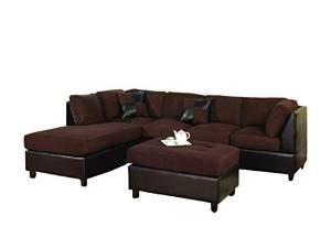 Leather 3 Piece Sectional Sofa Set 7 Bobkona Hungtinton Microfiber