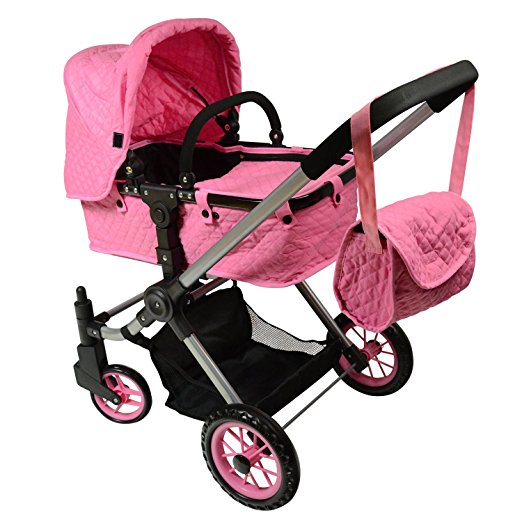 Pink Convertible Doll Stroller