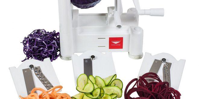 1. Paderno World Cuisine A4982799 Tri-Blade Vegetable Spiral Slicer