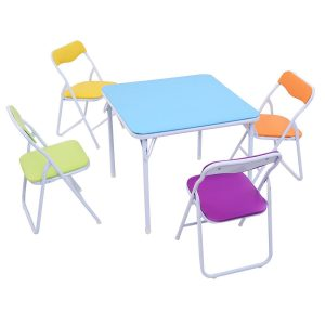 10. Costzon 5 Piece Kids Folding Chair and Table