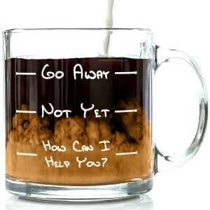 #2. Go Away Funny Glass Coffee Mug