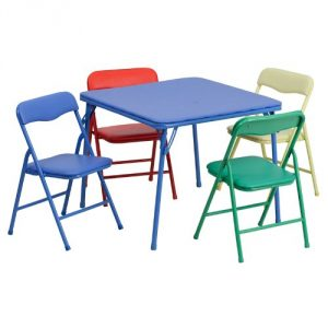 2. Kids colorful 5-piece folding chair and table set