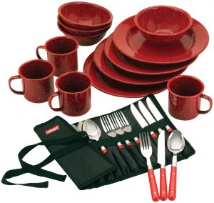 3. Coleman 24-Piece Enamel Dinnerware Set