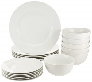 4. AmazonBasics 18-Piece Dinnerware Set, Service for 6