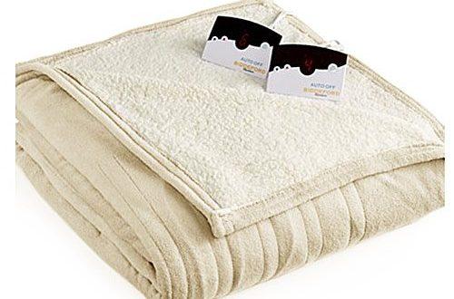 Biddeford MicroPlush Sherpa Electric Heated Blanket King Cream