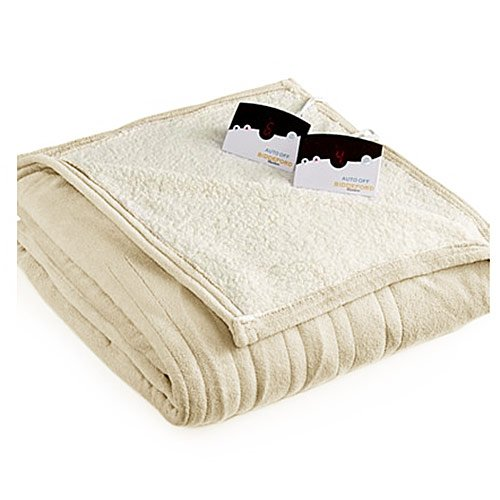 Biddeford MicroPlush Sherpa Electric Heated Blanket King Cream