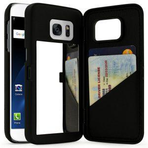 8. Bastex Teal Galaxy S7 Edge Case, Hidden Back Mirror Wallet