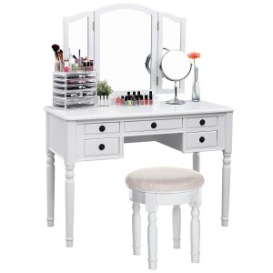 SONGMICS Vanity Set Tri-folding Mirror Make-up