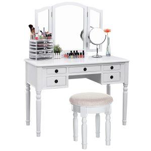 SONGMICS Vanity Set Tri-folding Mirror Make-up