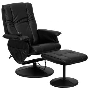 8. Massaging black leather recliner